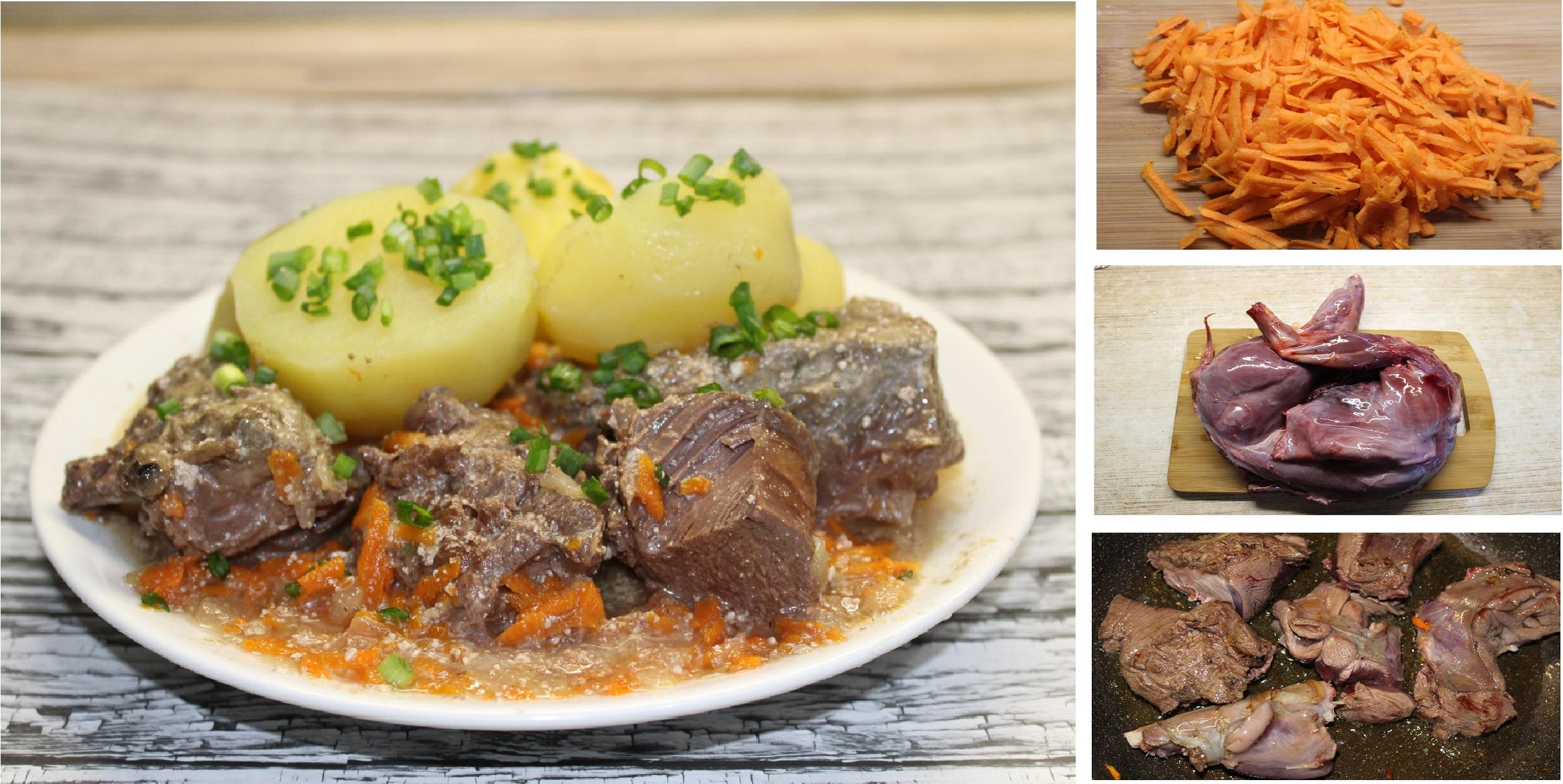 Заяц, тушеный в сметане с овощами: пошаговый фото рецепт