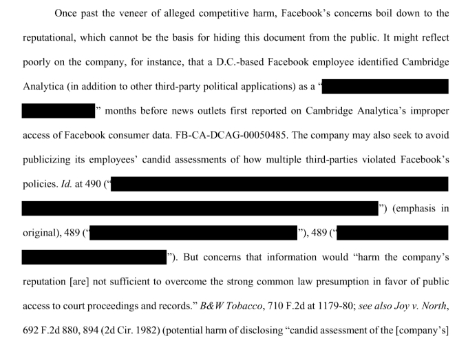 Photo of Facebook staff raised concerns about Cambridge Analytica in September 2015, per court filing