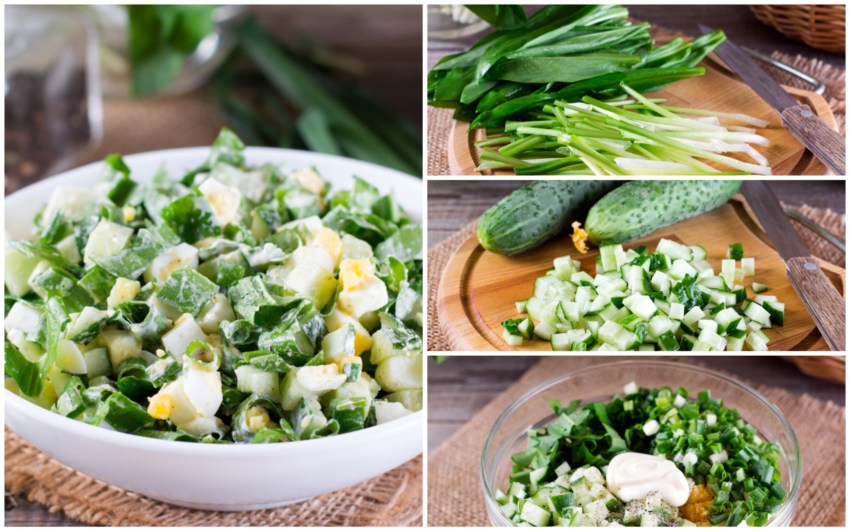Салат из черемши с яйцами и огурцами: пошаговый фото рецепт