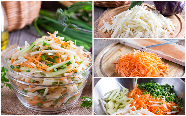 Салат из кольраби с морковью и огурцом: пошаговый фото рецепт
