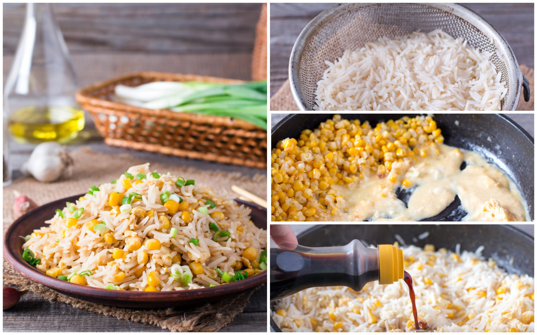 Жареный рис с яйцами и кукурузой: пошаговый фото рецепт