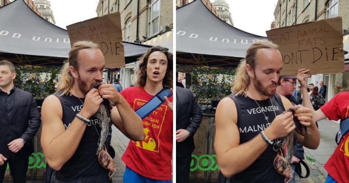 Блогер из Лондона съел белку, выступая против вегетарианства