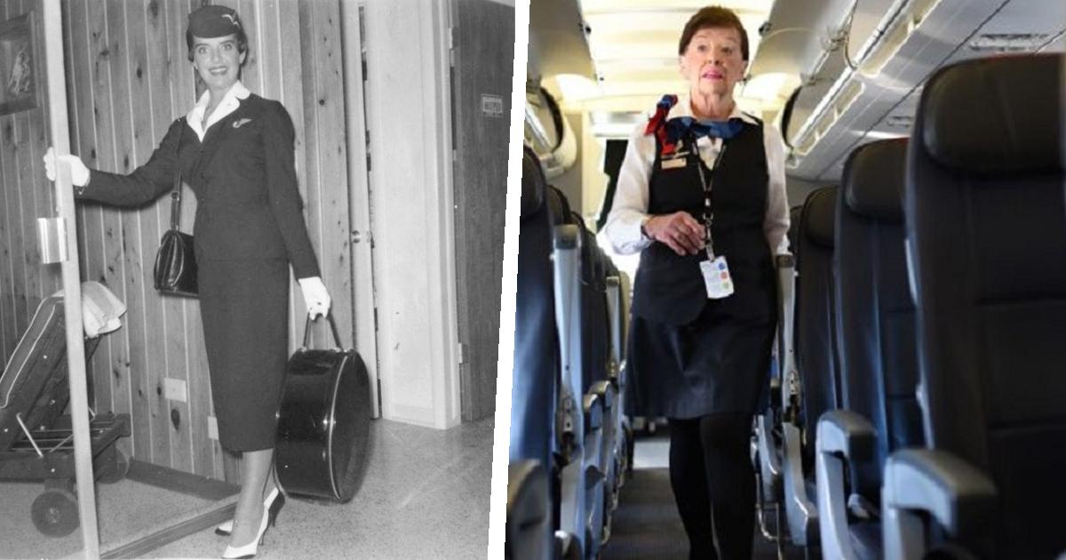 Фото 60 лет в небе: старейшей стюардессе в мире 82 года, и о пенсии нет и речи