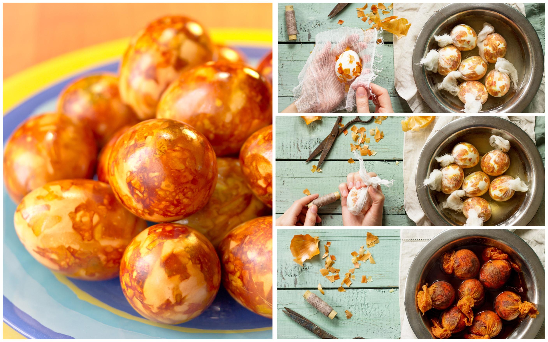 Мраморные яйца в луковой шелухе: пошаговые фото