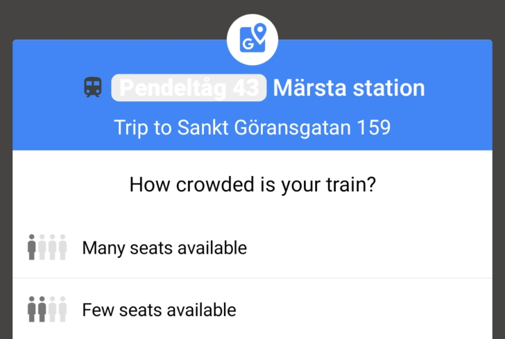 Photo of Google Maps is asking commuters how crowded their trains are