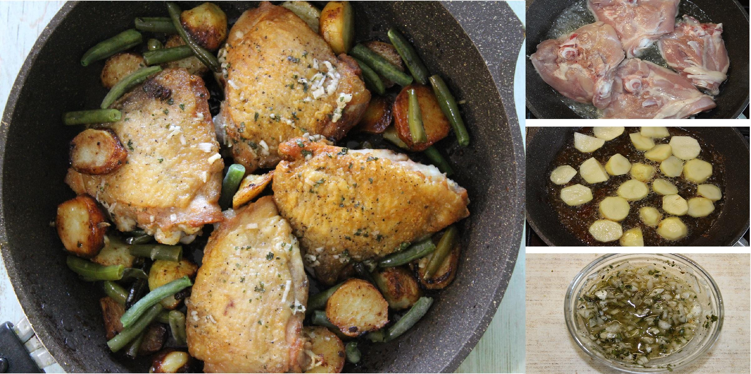 Куриные бедра с молодым картофелем, горошком и стручковой фасолью: пошаговый фото рецепт