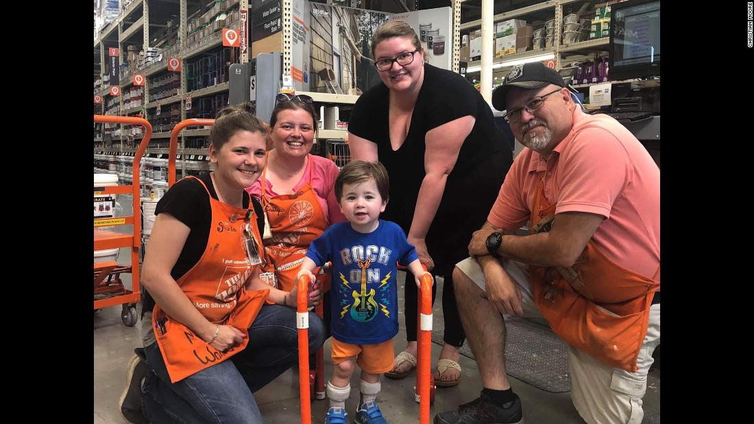 Photo of Home Depot employees build walker for 2-year-old customer