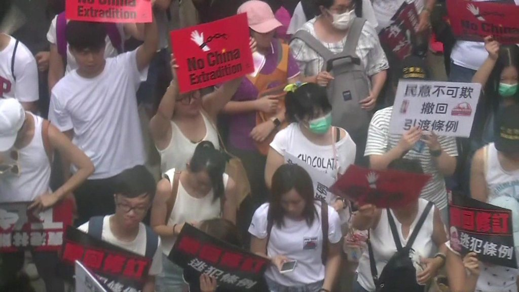 Photo of Hong Kong protesters demonstrate against extradition bill