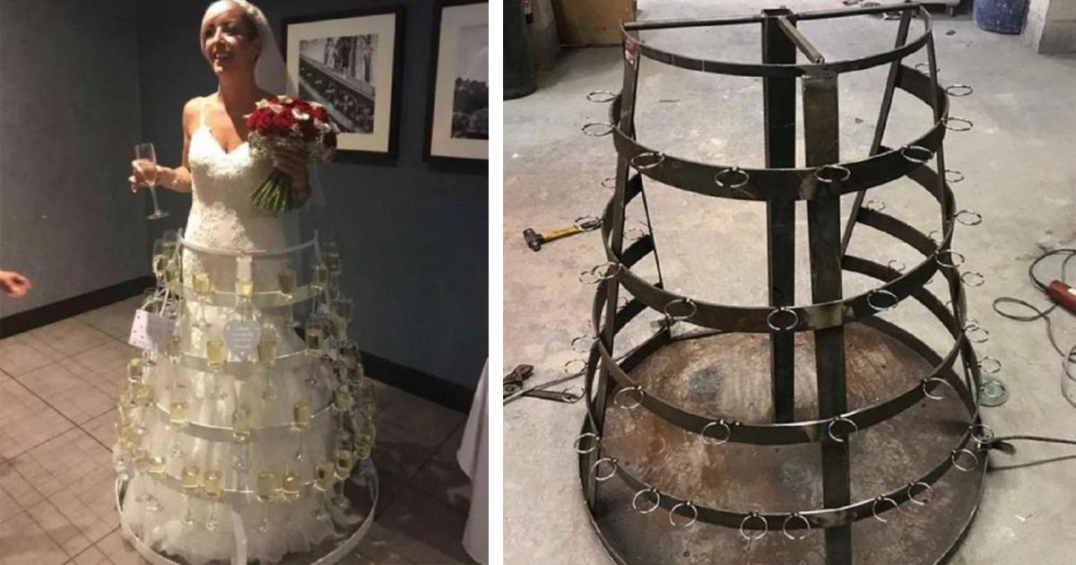 Фото Невеста вышла в платье, вмещающем в себя 50 бокалов шампанского