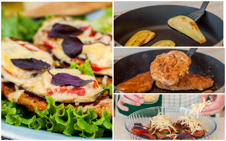 Куриные отбивные с баклажанами, помидорами и сыром в духовке: пошаговый фото рецепт
