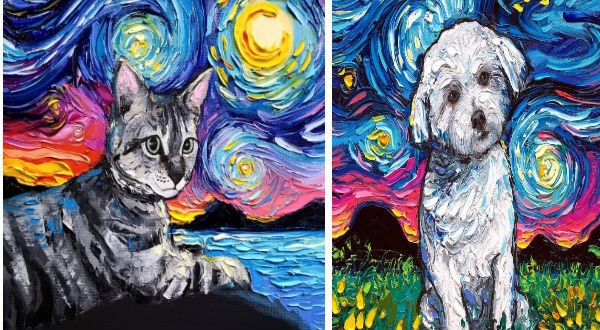 "Photo of This Artist Adds Her Special Twist To Van Gogh's Famous ""Starry Night"" And It's Pawsome"