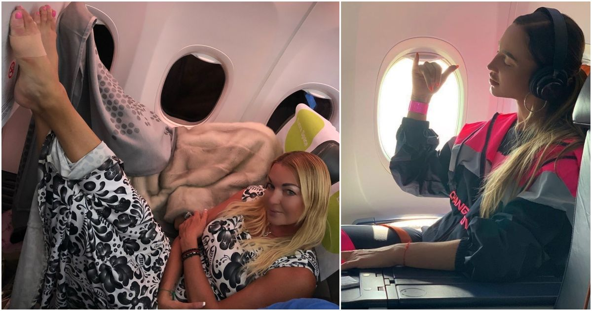 """Фото """"Весь рейс она бухала"""". Как летают наши гламурные звезды (ФОТО, ВИДЕО)"""