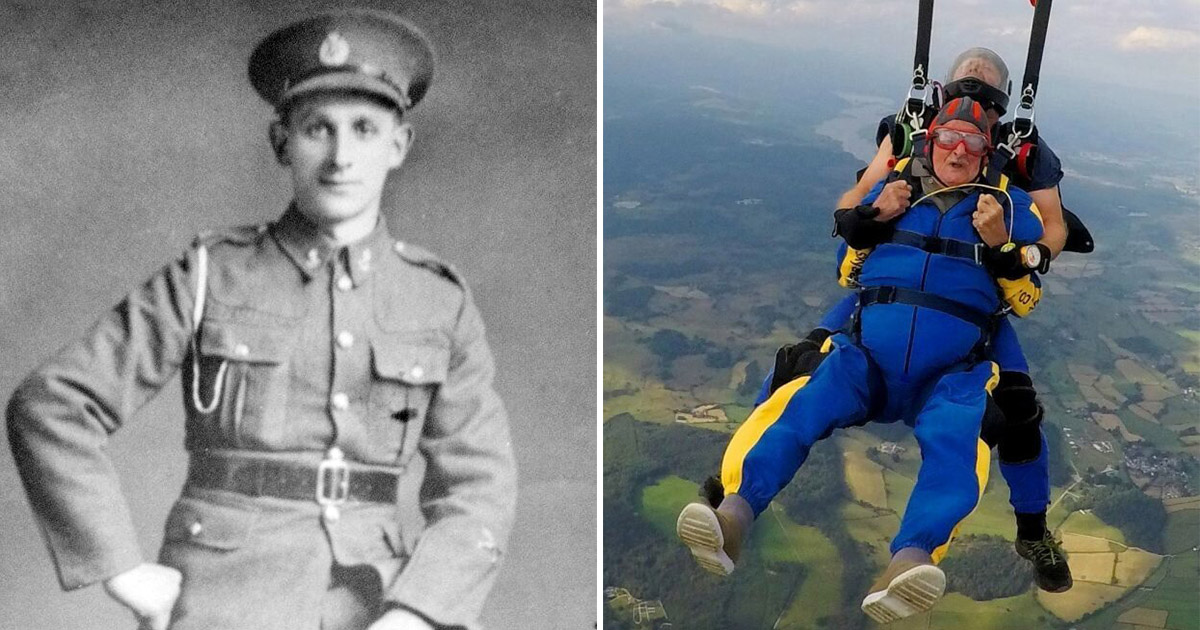 Фото Отрываться можно и в старости. 100-летний ветеран сиганул с 4000 метров