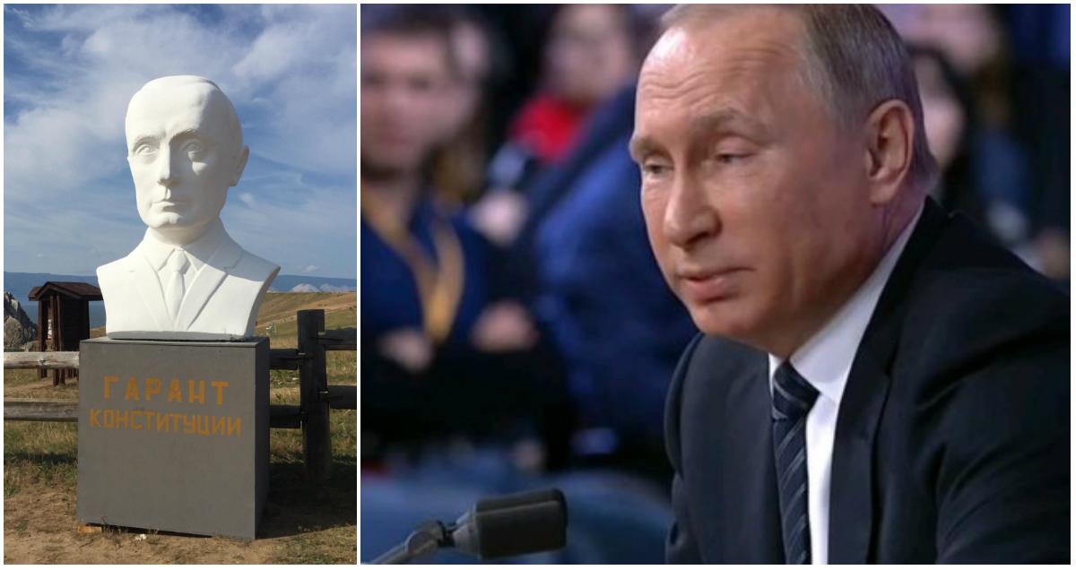 Жители Байкала установили бюст Путина, чтобы он им помог