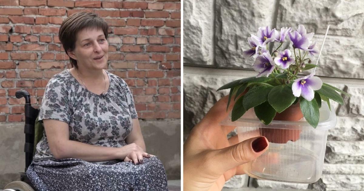 Фото Женщина с фиалками. Рунет пришел на помощь героине фильма о Беслане