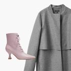 Комбо: Пальто с ботильонами на шнуровке