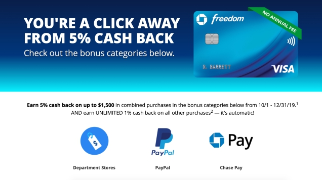 Photo of Get 5% Back On Paypal, Chase Pay, And Department Store Purchases With Your Chase Freedom