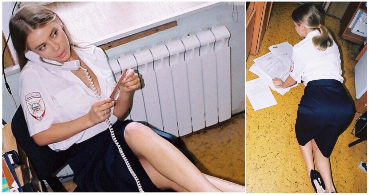 Москвичка устроила пикантную фотосессию в Тверском ОВД в полицейской форме