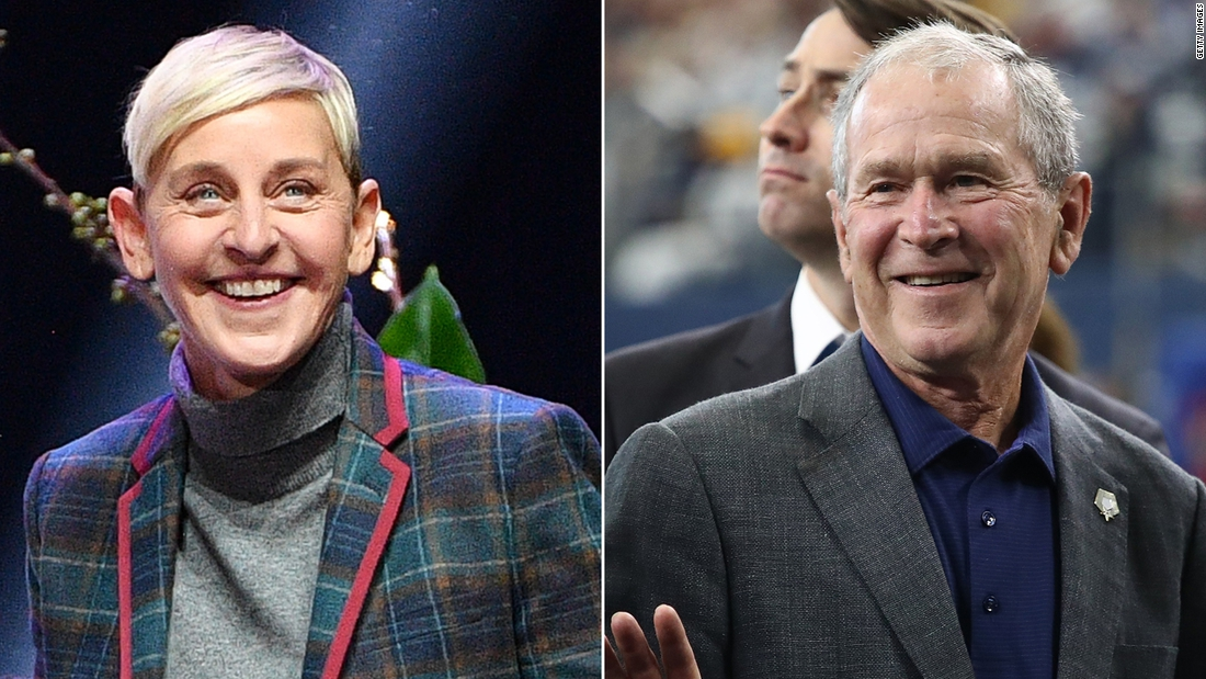 Photo of Ellen explains hanging out with George W. Bush