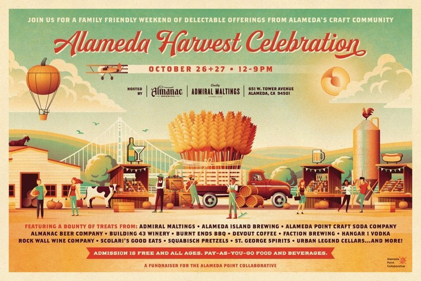 Photo of Alameda's inaugural Harvest Celebration with Almanac Beer, local food trucks