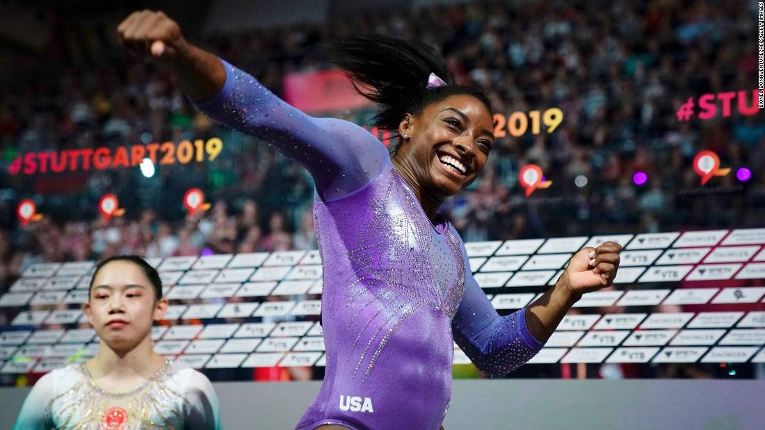 Photo of Simone Biles sets record for most world gymnastics championship medals