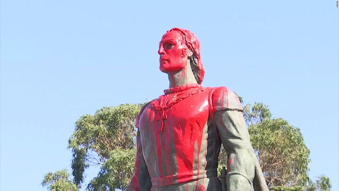 Photo of Christopher Columbus statues vandalized in California and Rhode Island