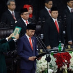 Indonesian President Is Sworn In Amid High Security and Protest Ban