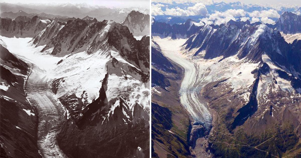 Фото с вековой разницей показали, насколько сильно растаяли ледники