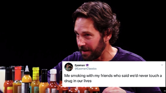 Photo of Paul Rudd on 'Hot Ones' is being turned into a very spicy meme