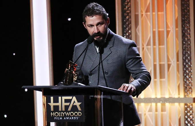 Photo of Shia LaBeouf Thanks Officer From Infamous 2017 Arrest During 'Honey Boy' Award Speech