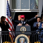 Trump Embraces Washington's Champions, Figuratively and Literally