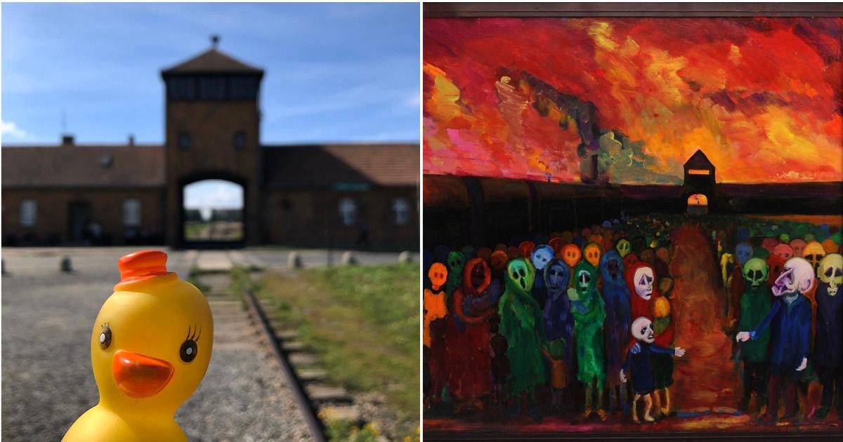 Блогер снял резиновую уточку на фоне Освенцима и вызвал волну осуждения
