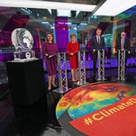 Photo of Ice Sculpture Steals Show at U.K. Climate Debate That Boris Johnson Skips