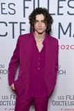 Oh My, Timothée Chalamet Rocked a Raspberry-Colored Suit at the Premiere of Little Women