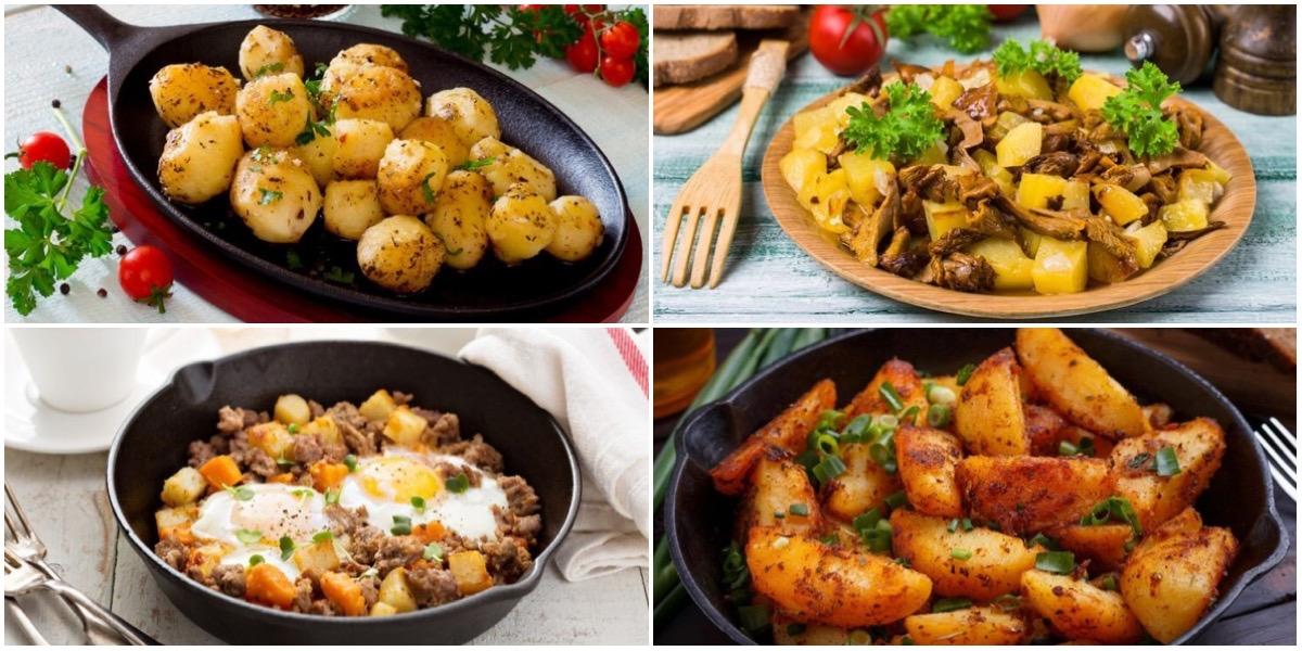 Подборка вкусных салатов  с жареным картофелем