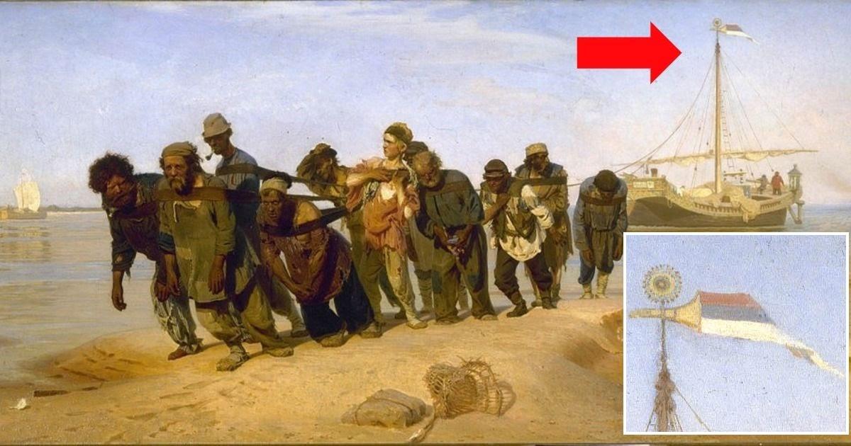 """Фото Почему перевернут российский флаг? Тайны картины """"Бурлаки на Волге"""""""
