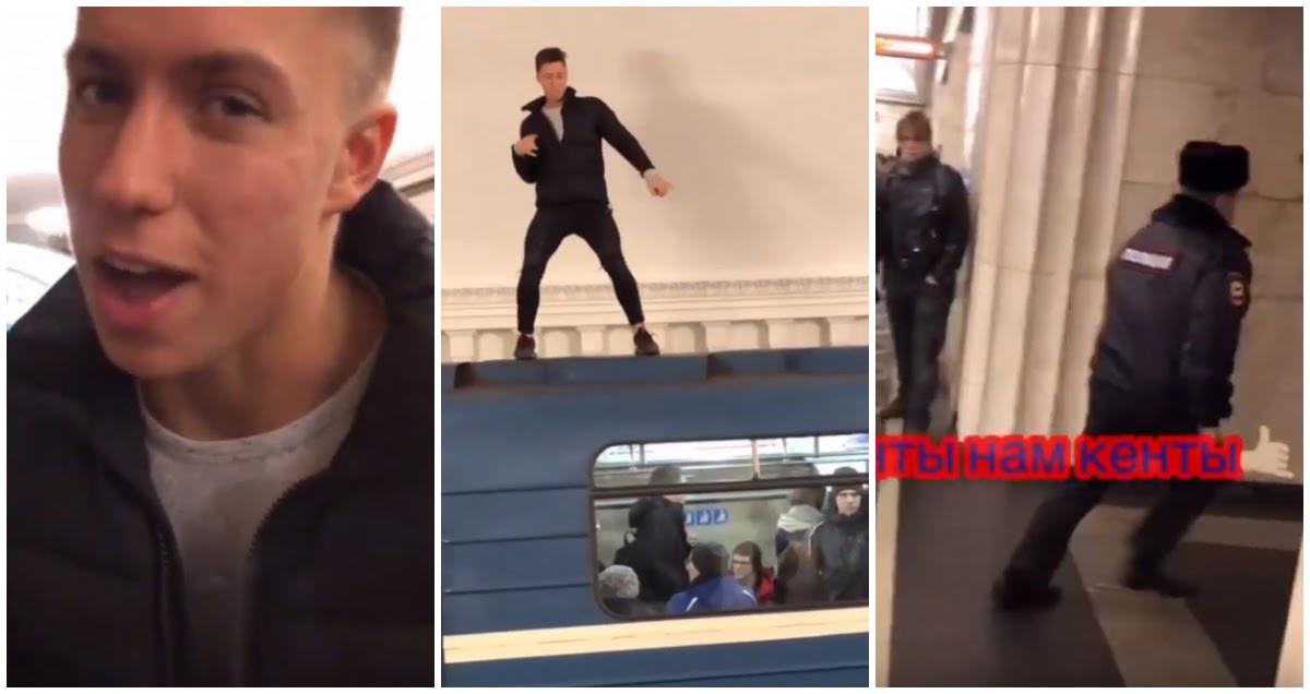 Блогер запрыгнул на крышу вагона и убежал от полиции ради лайков
