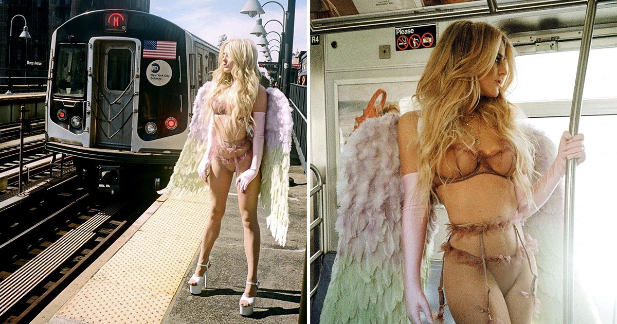 Модель сделала откровенные снимки в опустевшем из-за коронавируса метро