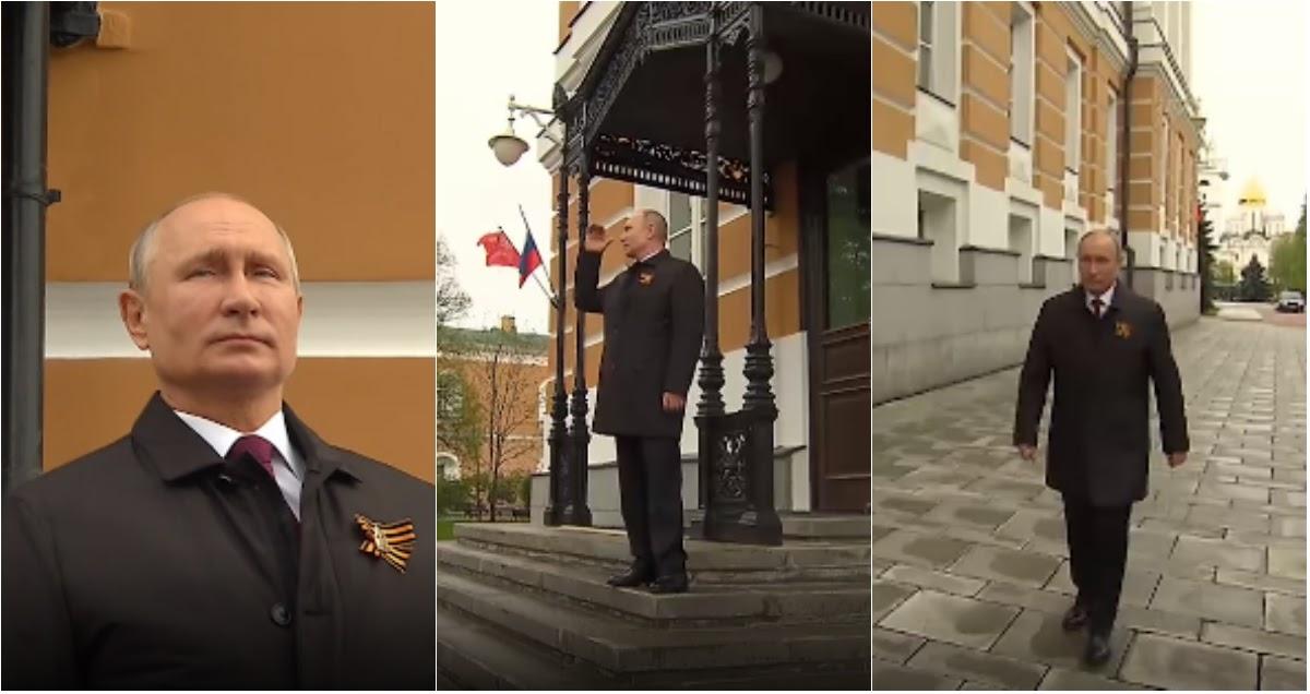 Снова на улице: Путина без маски засняли за просмотром авиапарада