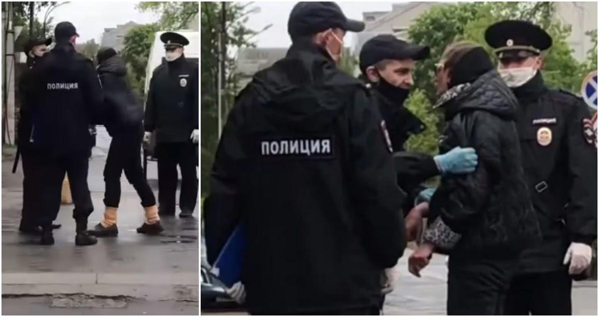 Полиция силой задержала пенсионерку, которая пришла на рынок без маски