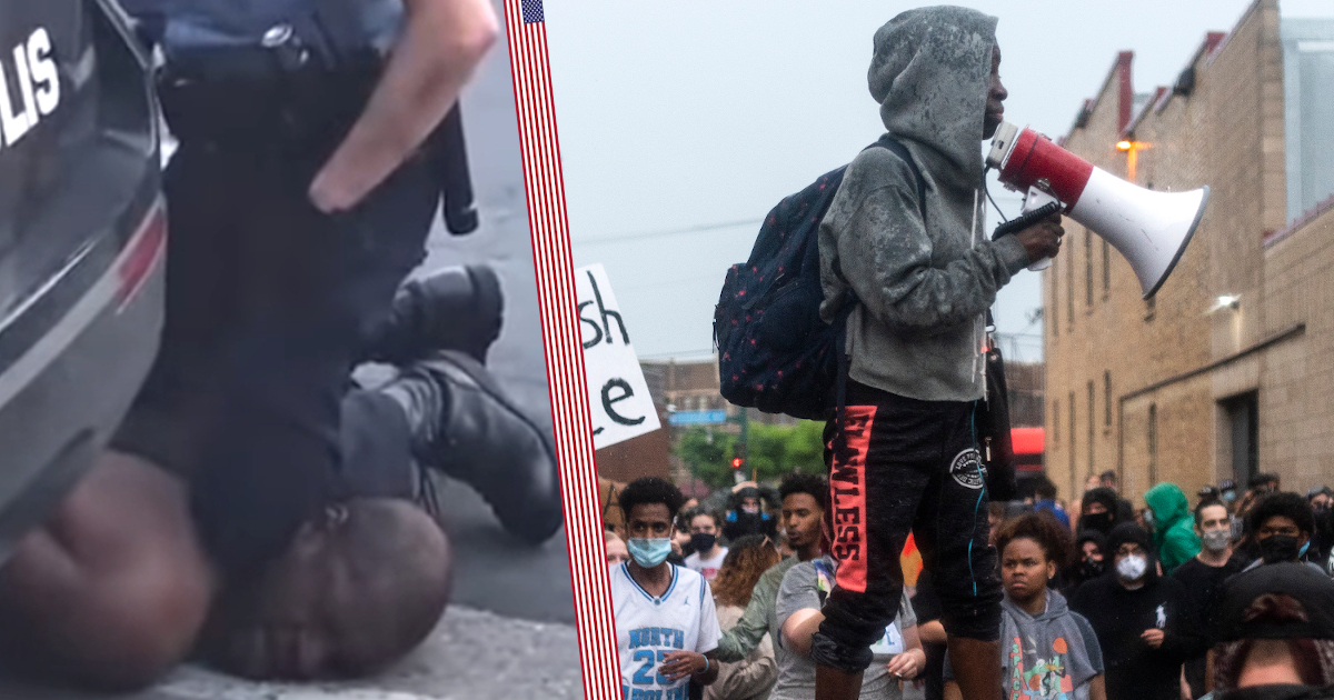 """Фото """"Не могу дышать"""". Бунт в Миннеаполисе после смерти чернокожего"""