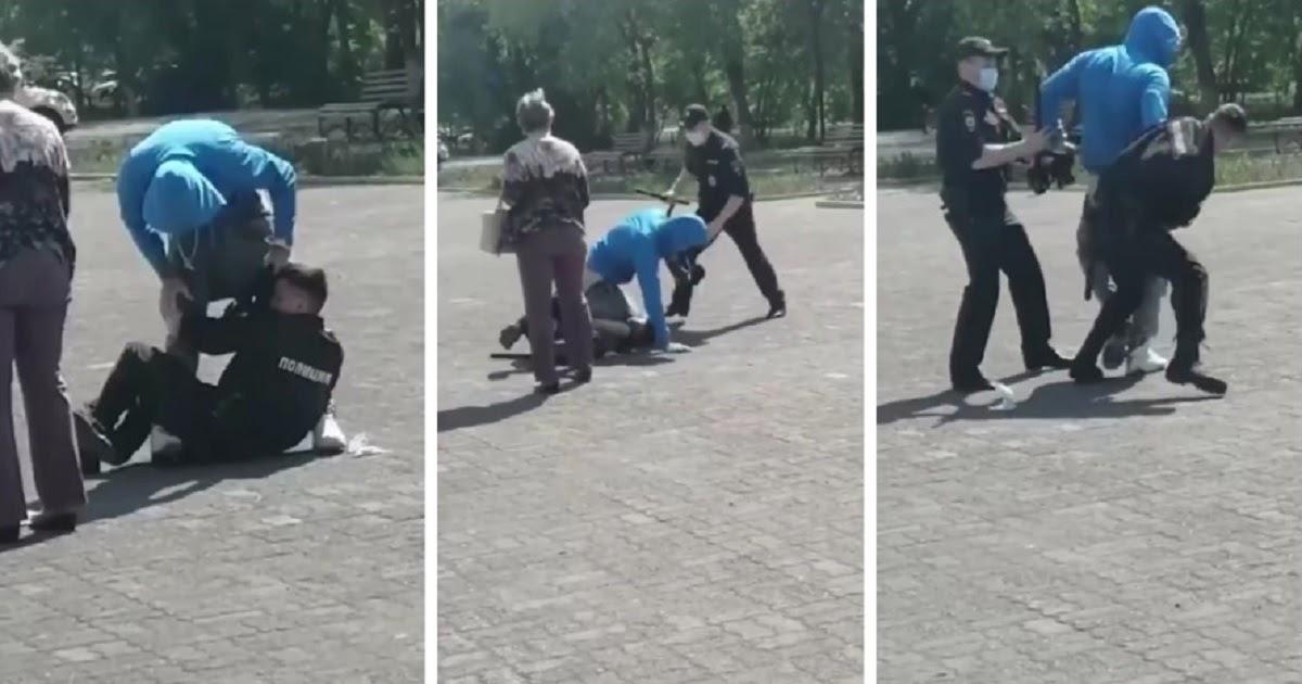 Фото Конфликт из-за маски. В Магнитогорске полицейские силой скрутили нарушителя