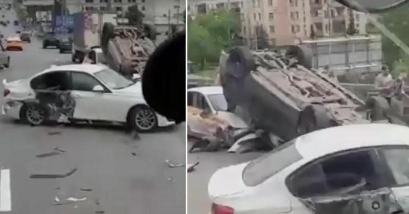 """Фото """"Блатной"""" Mercedes устроил массовое ДТП в Москве"""