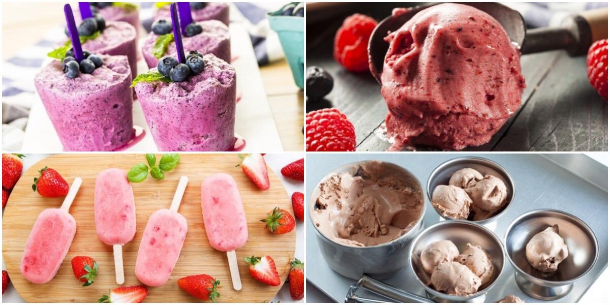 Подборка домашнего мороженого с фруктовым вкусом