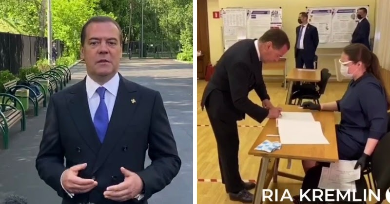 Раньше всех. Медведев проголосовал по поправкам в Конституцию