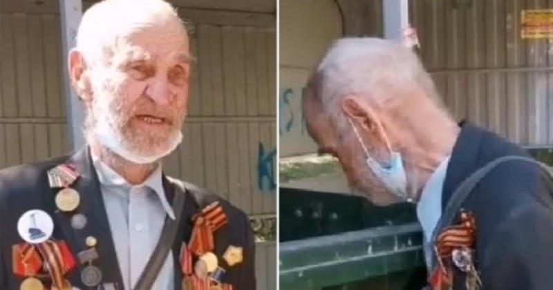 В Тюмени сняли, как 92-летний ветеран роется в мусорном баке