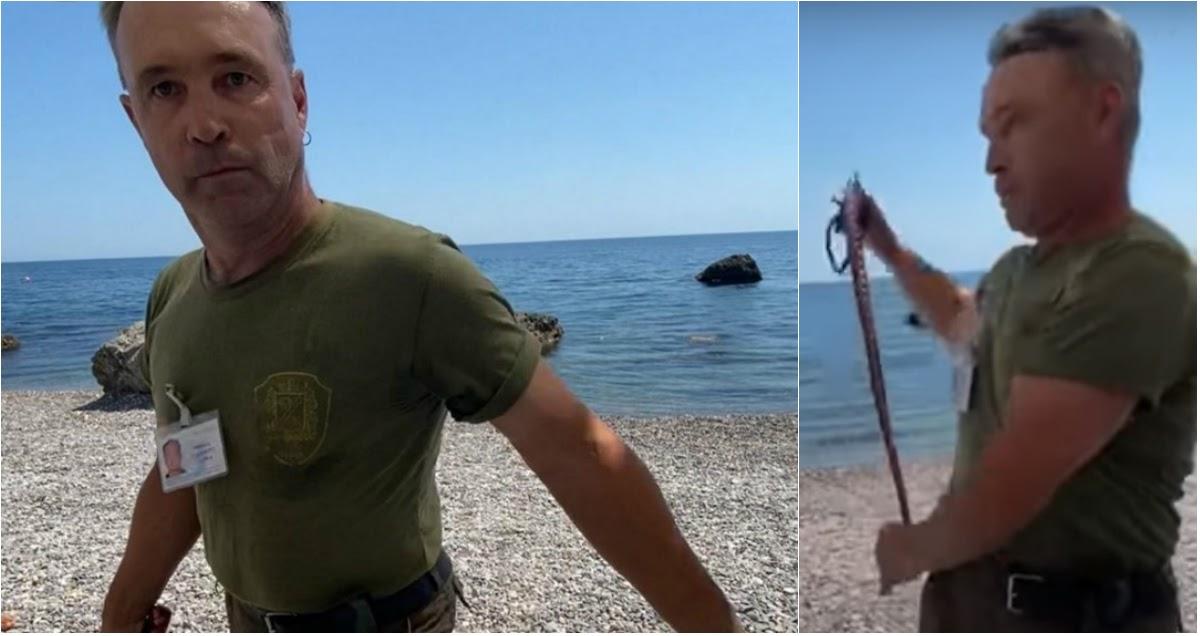 В Крыму охранник прогнал плетью туристов с пляжа