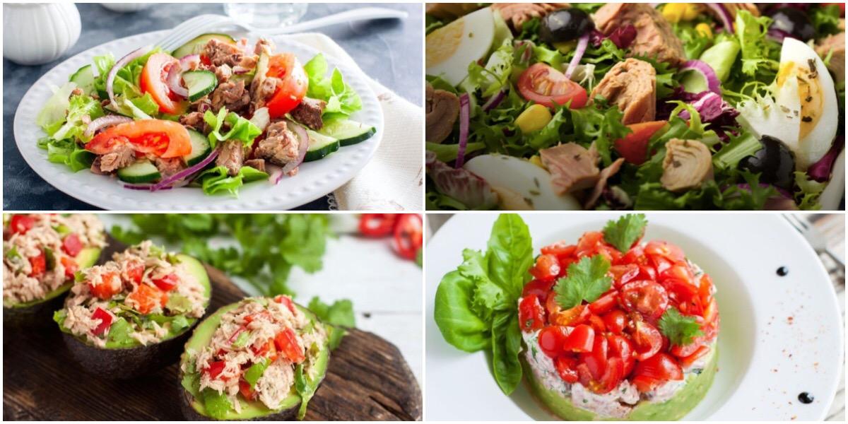Подборка разных салатов с тунцом