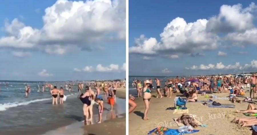 «Яблочку негде упасть». Переполненные пляжи Анапы сняли на видео