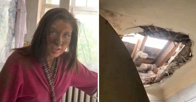 Потолок московской квартиры обрушился на девушку во время ремонта